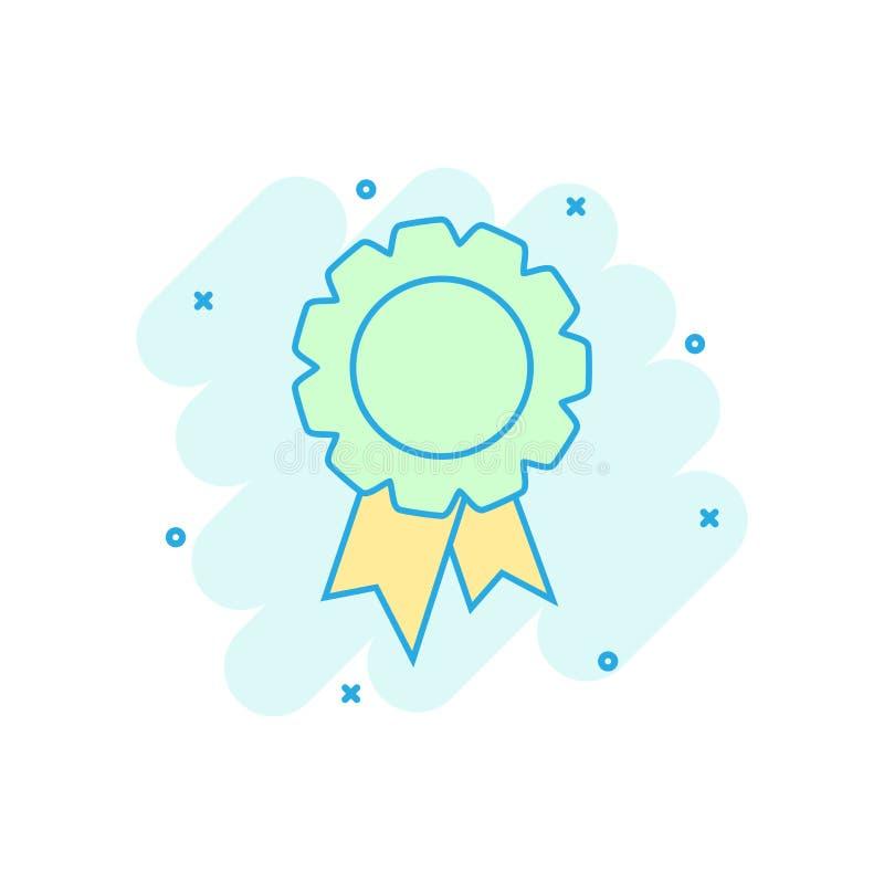Kreskówka barwił odznaki tasiemkową ikonę w komiczka stylu Nagroda medal il ilustracji
