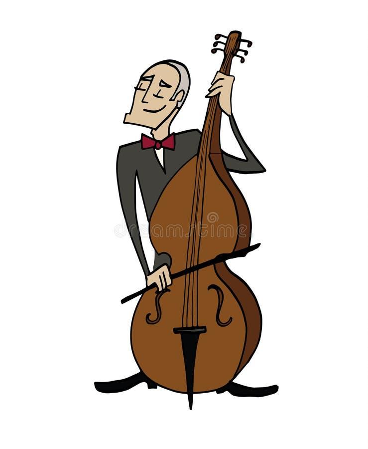 Kreskówka basisty muzyk bawić się klasycznego bas ilustracja wektor