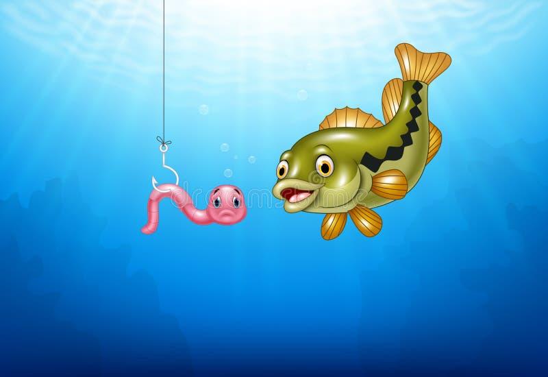 Kreskówka basu ryba tropi różowej dżdżownicy ilustracja wektor