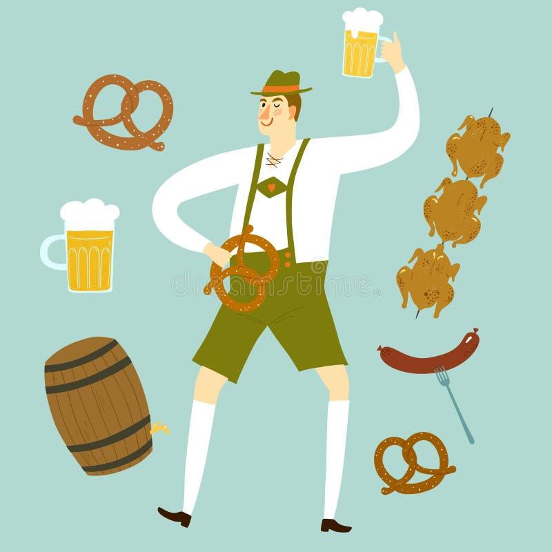 Kreskówka Bawarski mężczyzna z piwem i jedzeniem ilustracja wektor