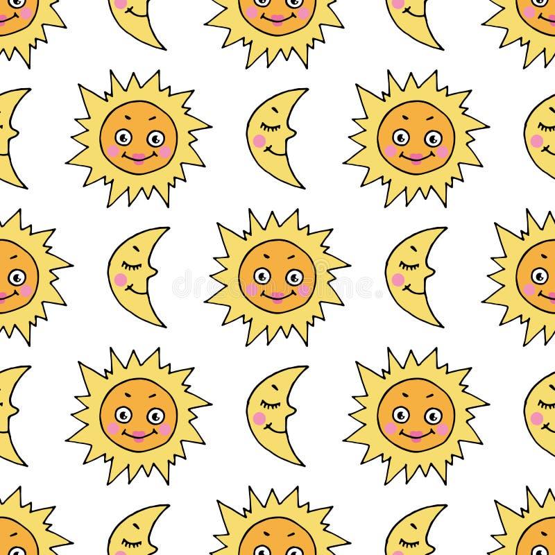 Kreskówka bezszwowy wzór z ręka rysującą doodle księżyc i słońcem royalty ilustracja