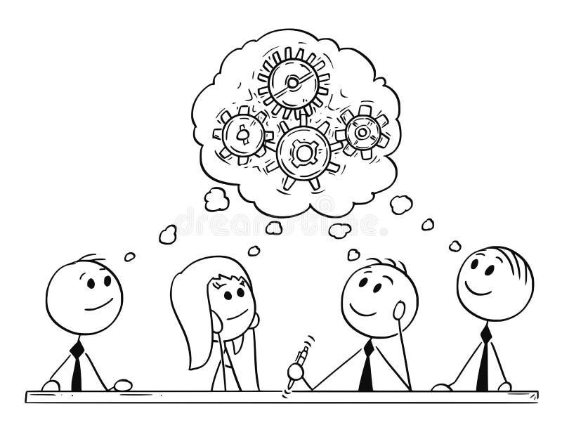 Kreskówka biznes drużyny Brainstorming i spotkanie royalty ilustracja