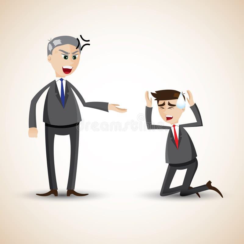 Kreskówka biznesmen gniewny ilustracji
