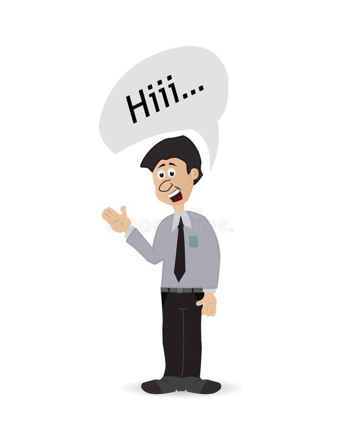Kreskówka biznesmen mówi cześć ilustracja wektor