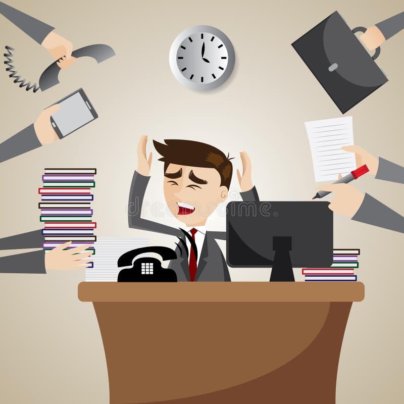 Kreskówka biznesmen ruchliwie na pracującym czasie ilustracji