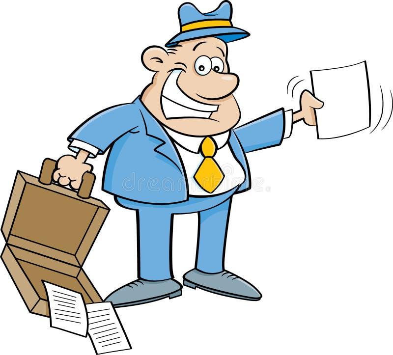 Kreskówka biznesmen trzyma otwartą teczkę i papier ilustracji