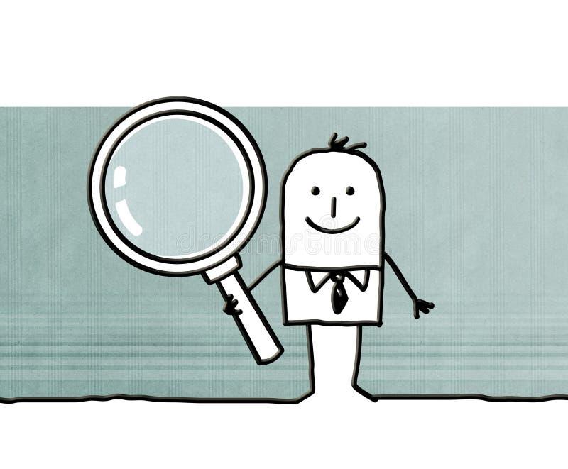 Kreskówka biznesmen z duży powiększać - szkło ilustracji