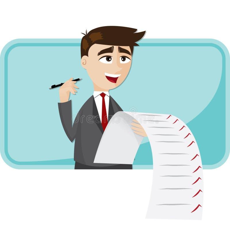 Kreskówka biznesmen z lista kontrolna papierem ilustracja wektor