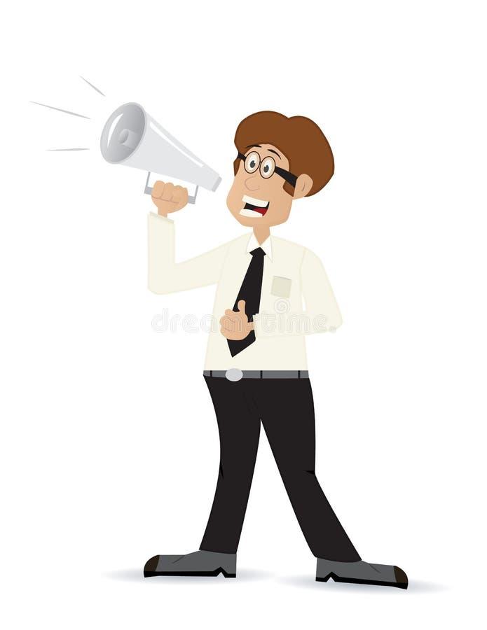 Kreskówka biznesmen z obciążeniowym mówcą ilustracji