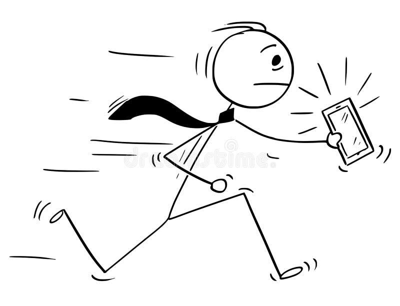 Kreskówka biznesmena bieg z dzwonienie telefonem komórkowym lub telefonem komórkowym royalty ilustracja