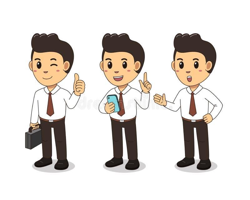 Kreskówka biznesmena charakteru ślicznej pozy ustalona wektorowa ilustracja ilustracji