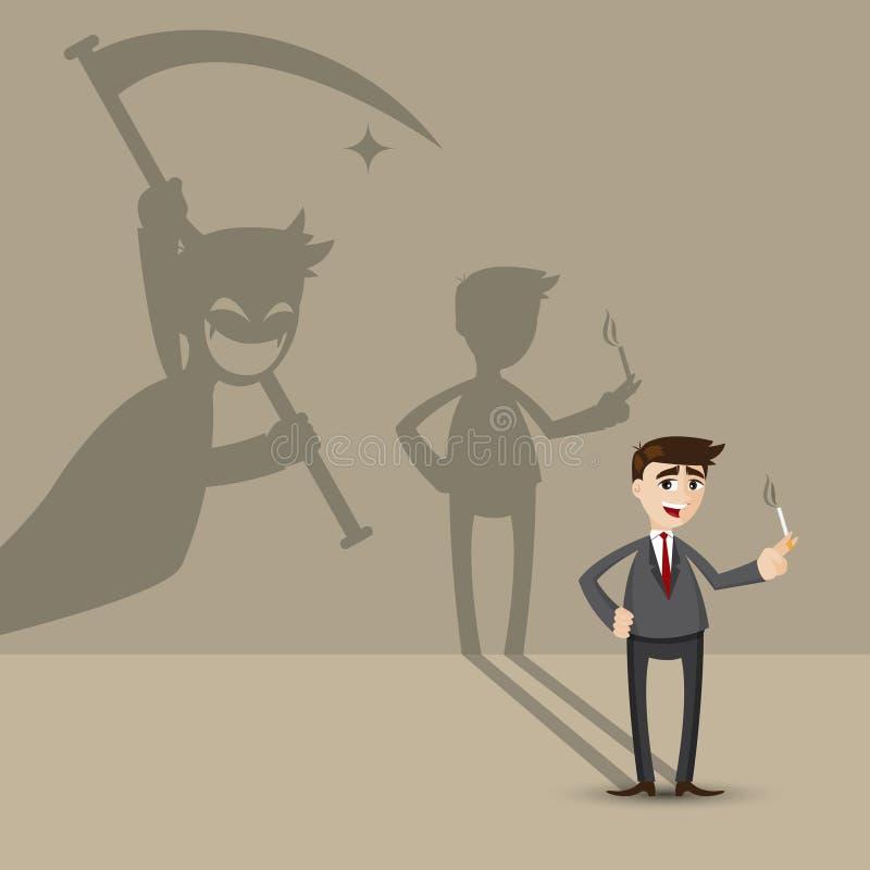 Kreskówka biznesmena dymienie z śmiertelnym cieniem na ścianie ilustracji