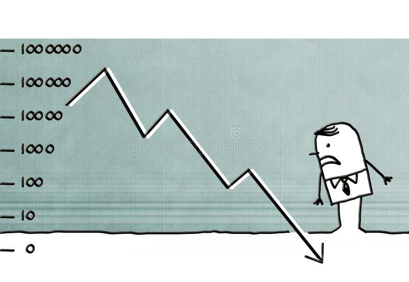 Kreskówka biznesmena gubienia pieniądze ilustracja wektor