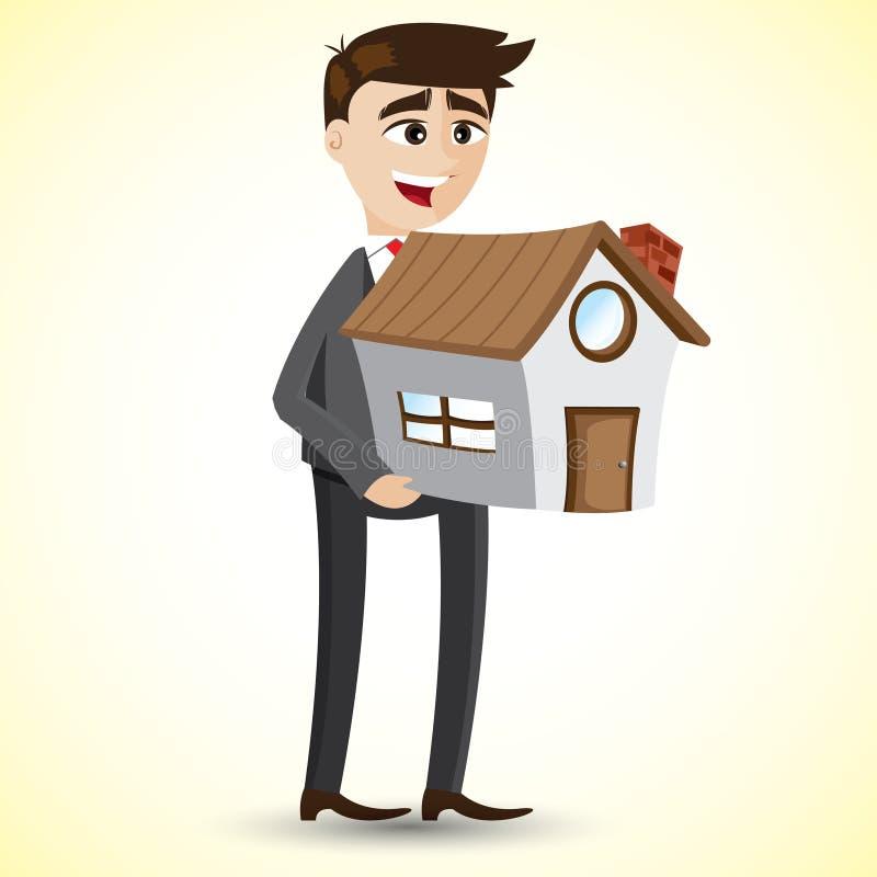Kreskówka biznesmena mienia dom ilustracja wektor