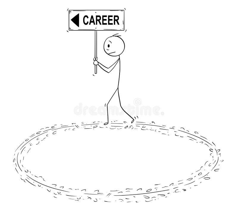 Kreskówka biznesmena mienia kariery odprowadzenie w okręgu w próżni wysiłku i znak ilustracja wektor