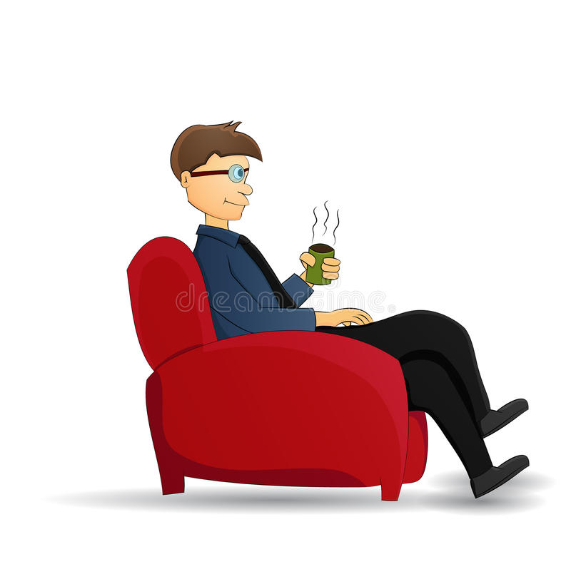 Kreskówka biznesmena napoju kawa ilustracja wektor