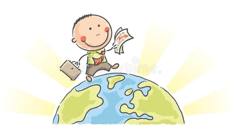 Kreskówka biznesmena odprowadzenie na ziemi ilustracja wektor