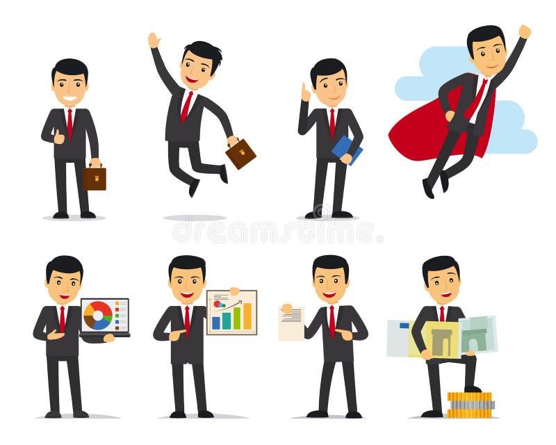 Kreskówka biznesmena pozy ilustracji