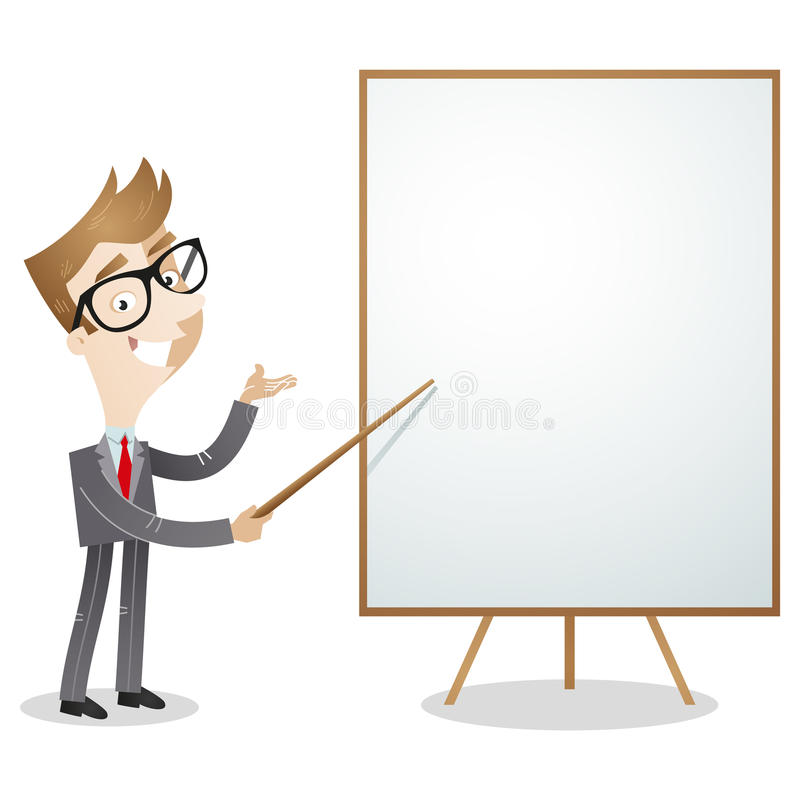 Kreskówka biznesmena pusta biała deska ilustracji