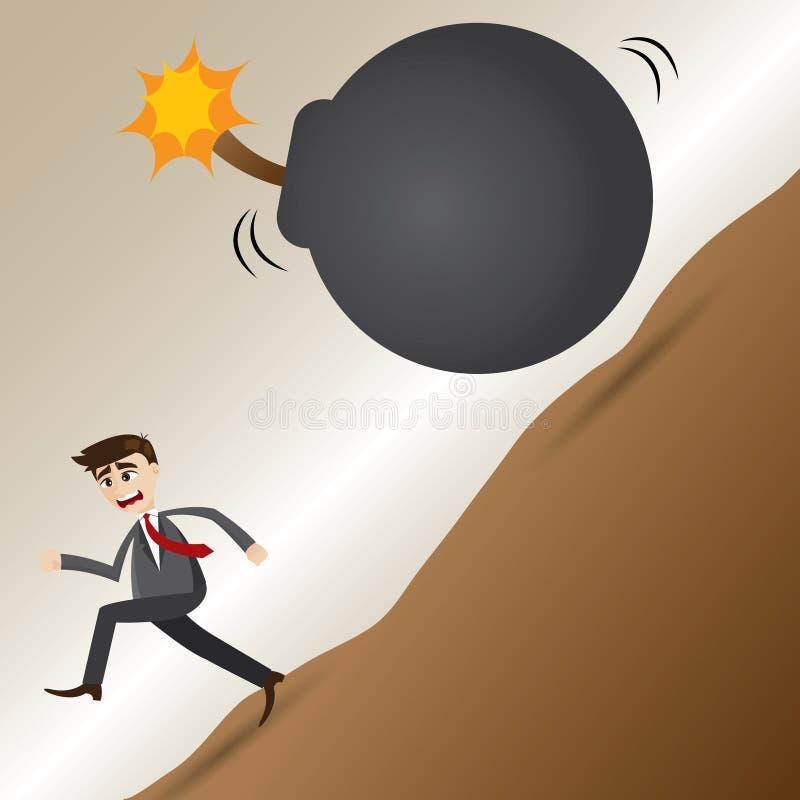 Kreskówka biznesmena ucieczka od granat bomby royalty ilustracja