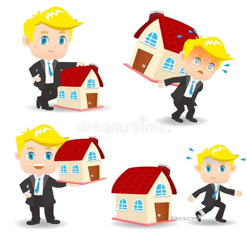 Kreskówka Biznesowego mężczyzna kredyt mieszkaniowy royalty ilustracja