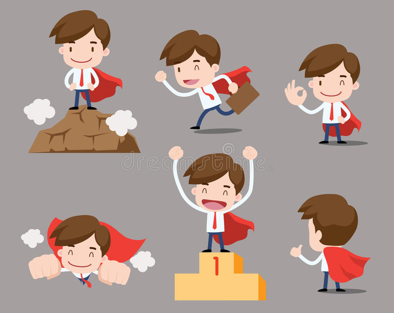 Kreskówka biznesowi charaktery - sukcesu mężczyzna ilustracja wektor