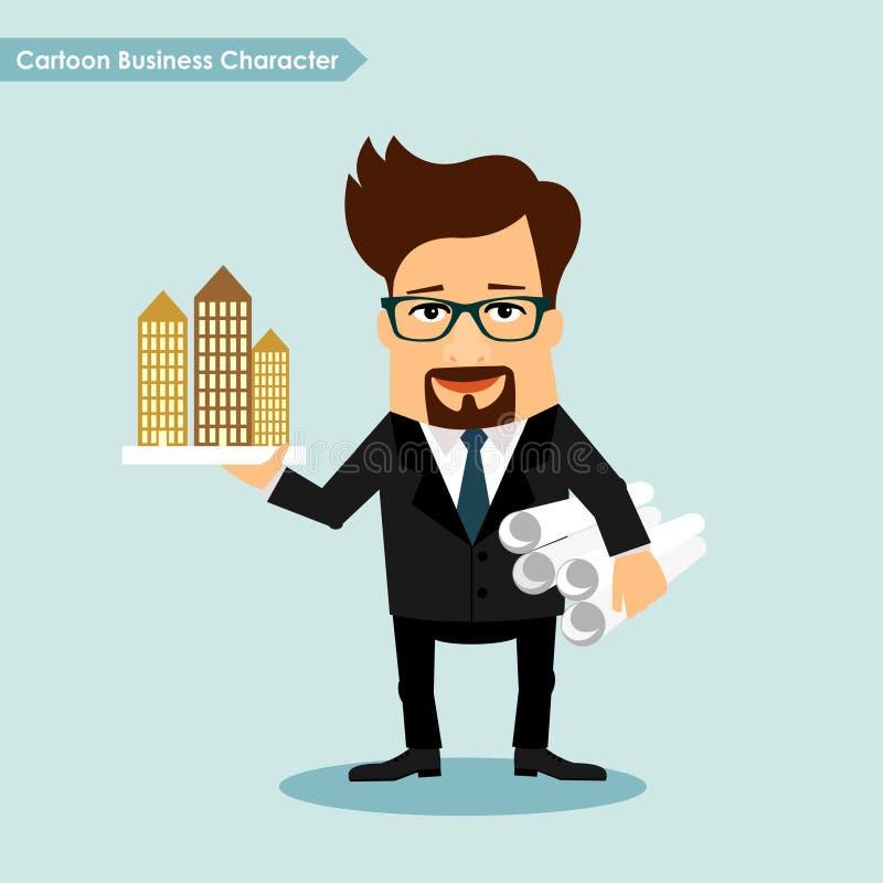 Kreskówka Biznesowy charakter, architektura przedsiębiorca budowlany ilustracja wektor