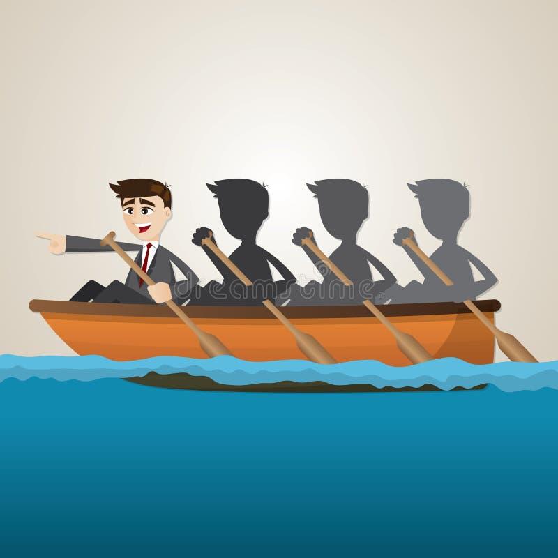 Kreskówka biznesu drużyny wioślarstwo na morzu ilustracji