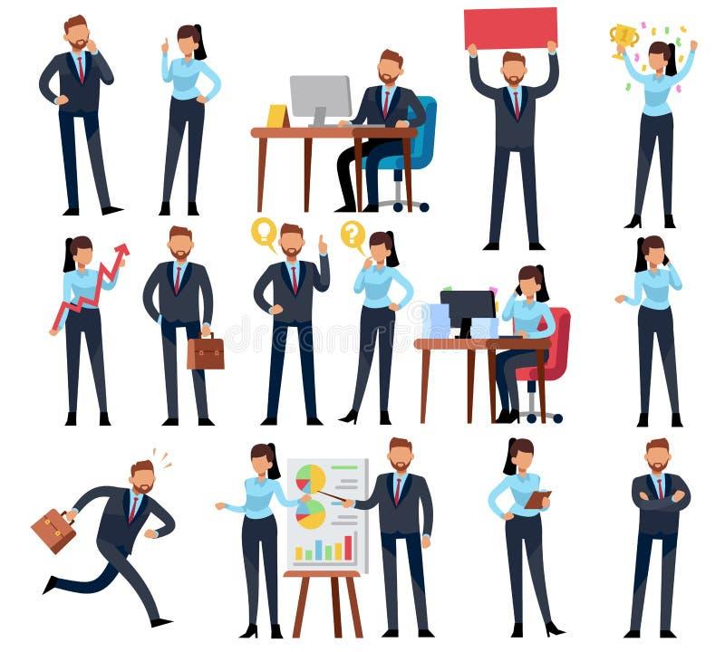 Kreskówka biznesu persons Biznesmen fachowa kobieta w różnych biurowej pracy sytuacjach Wektorowi charaktery ustawiający ilustracji