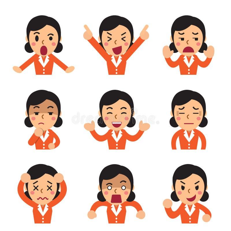 Kreskówka bizneswoman stawia czoło pokazywać różne emocje ustawiać ilustracja wektor