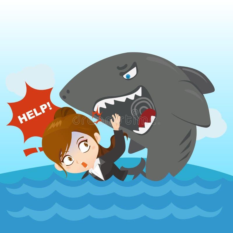 Kreskówka bizneswomanu ilustracyjny kryzys ilustracja wektor