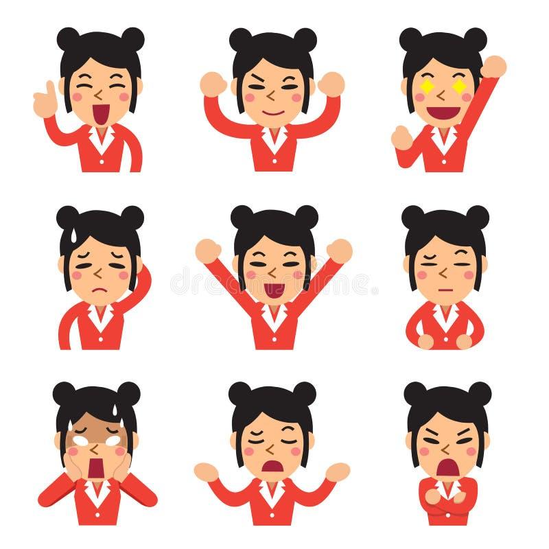 Kreskówka bizneswomanu twarze pokazuje różne emocje ustawiać ilustracji