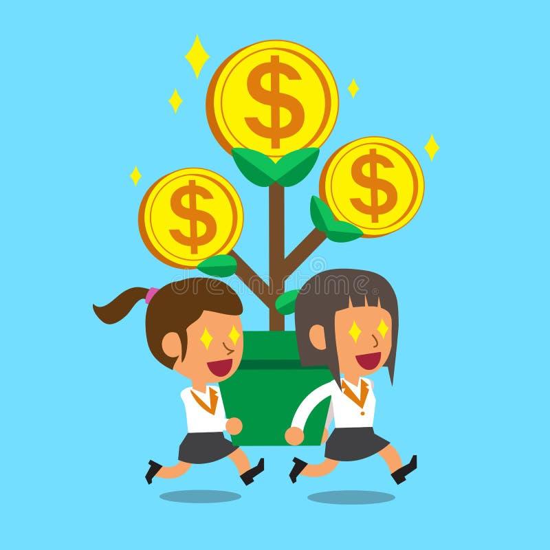 Kreskówka bizneswomany niesie dużego pieniądze drzewa ilustracja wektor