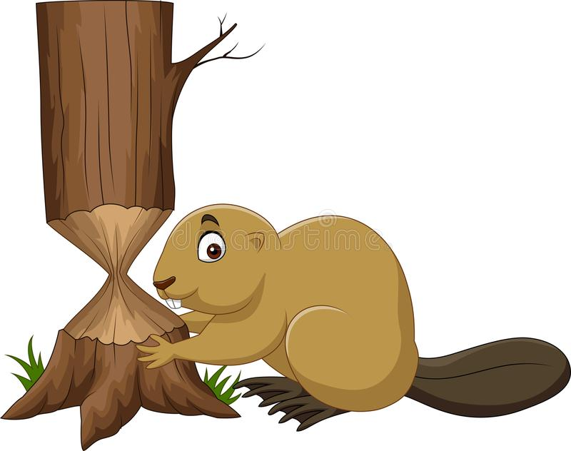 Kreskówka bobra tnący drzewo ilustracja wektor