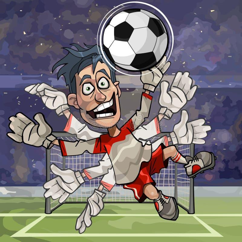 Kreskówka bramkarz łapie piłkę z mnogimi rękami royalty ilustracja