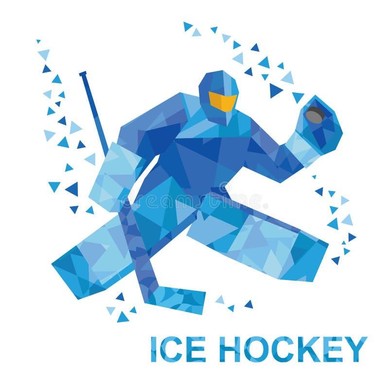 Kreskówka bramkarz z hokejowym kijem łapie krążek hokojowego royalty ilustracja