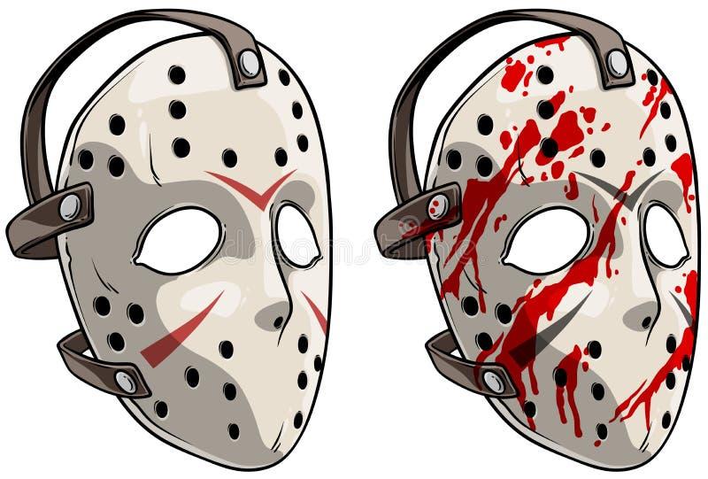Kreskówka bramkarza hokeja straszna maska ilustracji