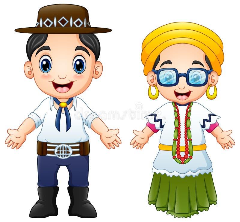 Kreskówka brazylijczyków para jest ubranym tradycyjnych kostiumy ilustracji