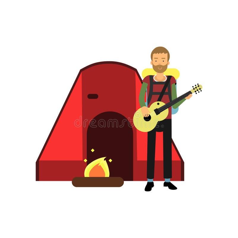 Kreskówka brodatego mężczyzna turystyczny charakter bawić się gitarę blisko ogniska i czerwień namiotu Obozujący, plenerowy odtwa royalty ilustracja