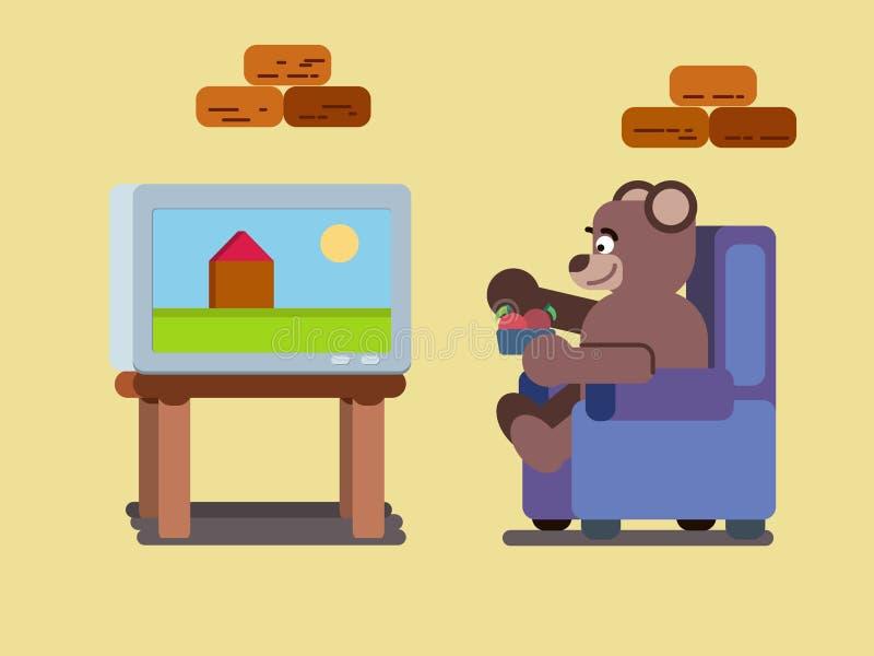 Kreskówka brown niedźwiedź ogląda tv płaską ilustrację w domu ilustracja wektor