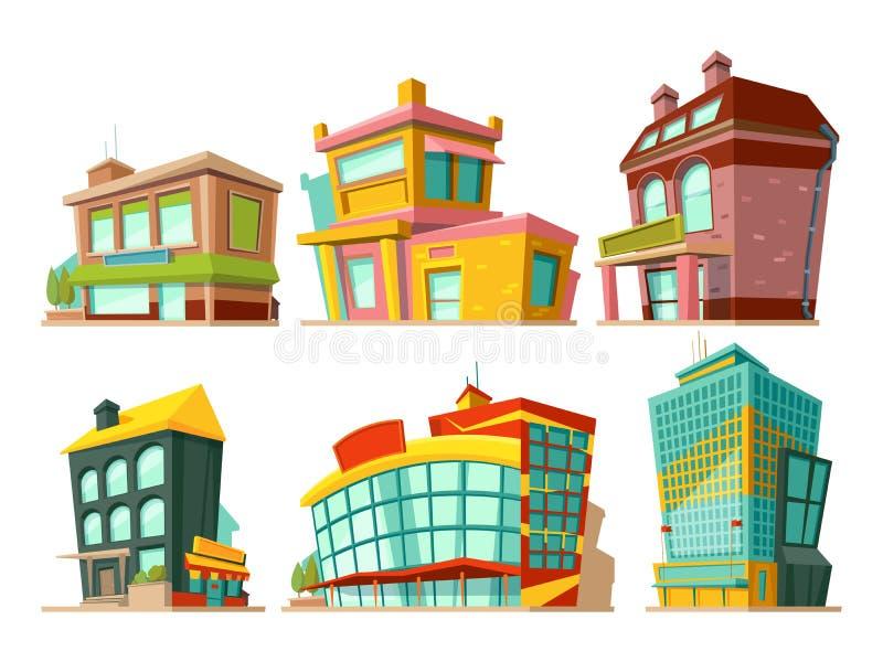 Kreskówka budynki Wektorowe ilustracje ustawiać odizolowywają na bielu ilustracji