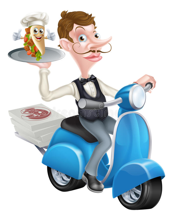 Kreskówka Butler Dostarcza Souvlaki na hulajnoga Moped ilustracja wektor