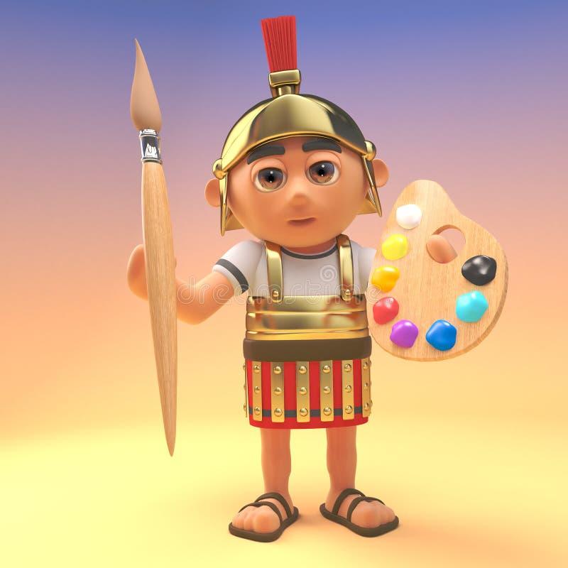 Kreskówka centurionu Romański żołnierz trzyma paintbrush paletę i, 3d ilustracja ilustracji