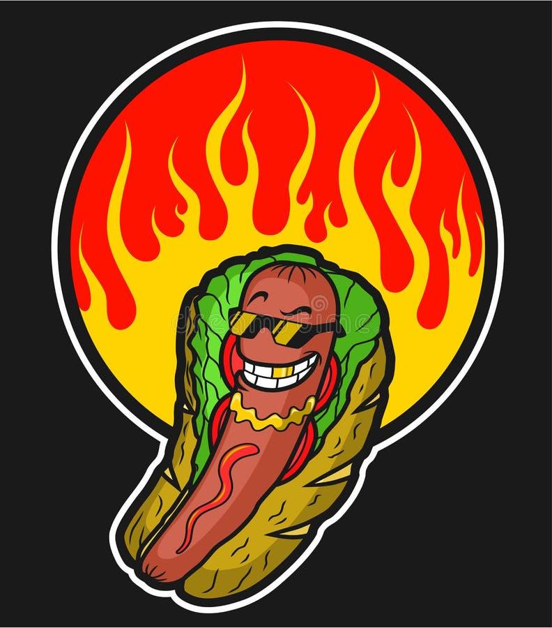 Kreskówka chłodno ogień w okręgu i hot dog ilustracja wektor