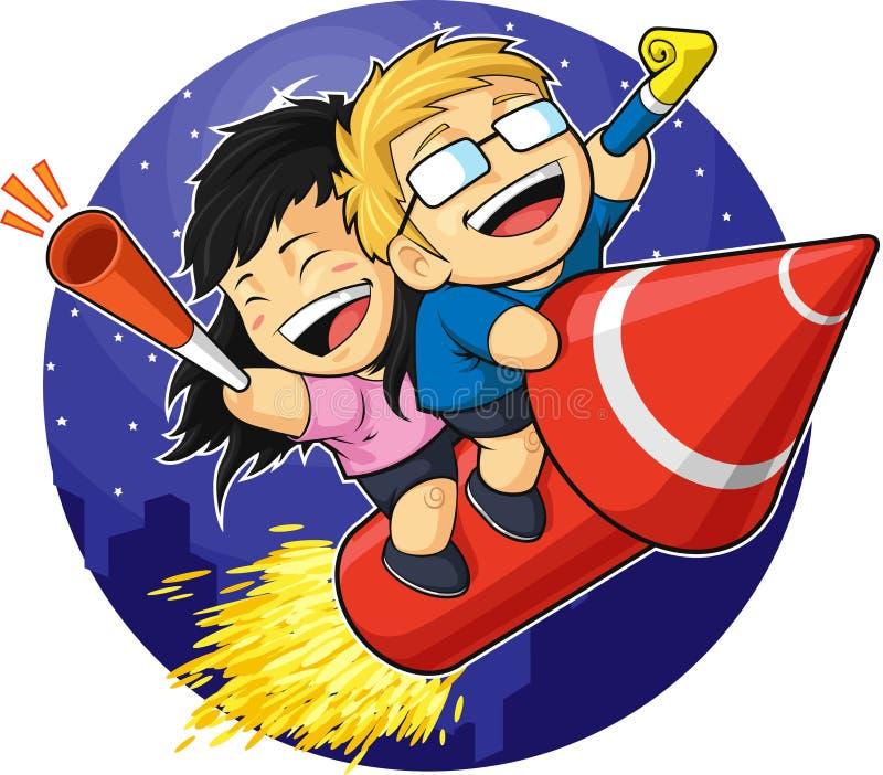 Kreskówka Chłopiec & Dziewczyny Jeździecki Nowego Roku Fajerwerk royalty ilustracja
