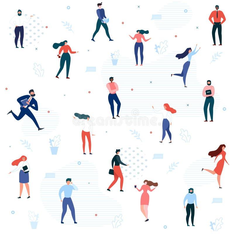 Kreskówka charakterów Bezszwowego wzoru Biurowi ludzie ilustracji