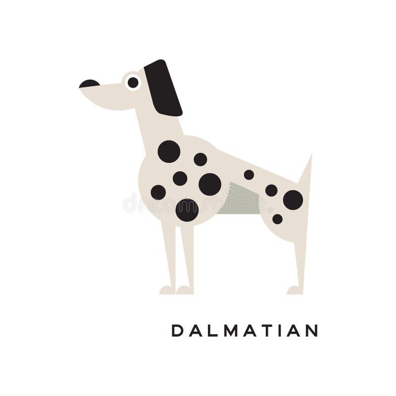 Kreskówka charakteru dalmatian ikona odizolowywająca na bielu ilustracja wektor