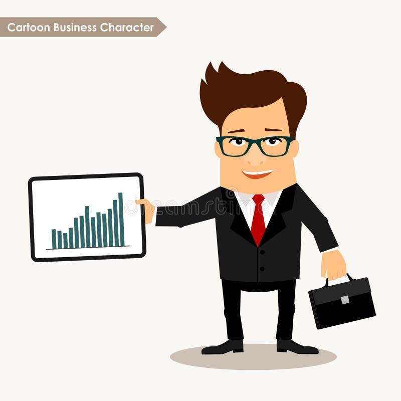 Kreskówka charakteru mienia statystyki biznesowa deska ilustracja wektor