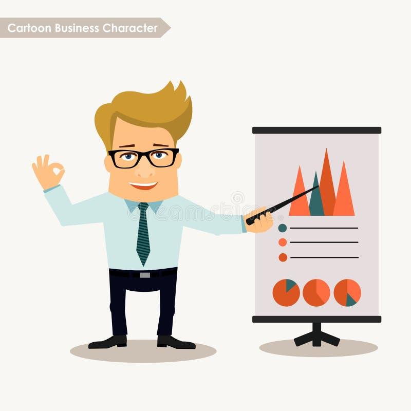 Kreskówka charakteru prezentaci biznesowy pojęcie ilustracja wektor