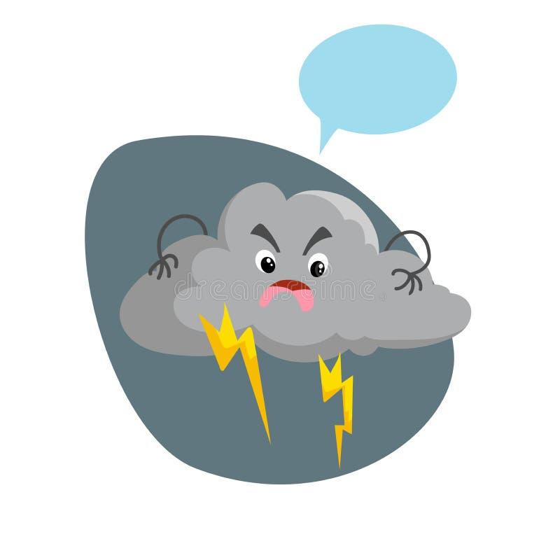 Kreskówka chmurząca burzy chmura z burzy maskotką Pogodowy deszczu i burzy symbol Obcojęzyczny charakter z atrapy mowy bąblem ilustracja wektor